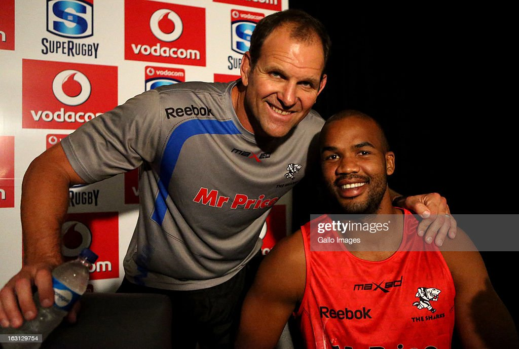Head coach, John Plumtree and JP Pietersen during a Sharks press conference at Kings Park on March 05, 2013 in Durban, South Africa.