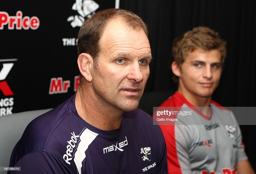 Head coach <a gi-track='captionPersonalityLinkClicked' href=/galleries/search?phrase=John+Plumtree&family=editorial&specificpeople=2229832 ng-click='$event.stopPropagation()'>John Plumtree</a> (L) and <a gi-track='captionPersonalityLinkClicked' href=/galleries/search?phrase=Patrick+Lambie&family=editorial&specificpeople=6849711 ng-click='$event.stopPropagation()'>Patrick Lambie</a> of Sharks attend a press conference at Kings Park on February 26, 2013 in Durban, South Africa.