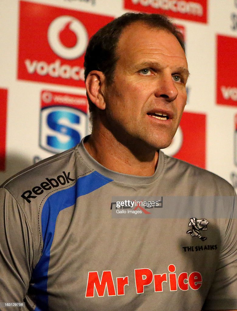 Head coach, John Plumtree during a Sharks press conference at Kings Park on March 05, 2013 in Durban, South Africa.