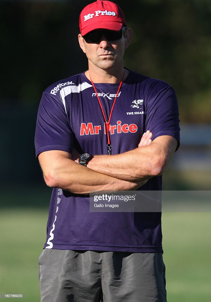 Head coach John Plumtree oversees a Sharks training session at Kings Park on February 26, 2013 in Durban, South Africa.