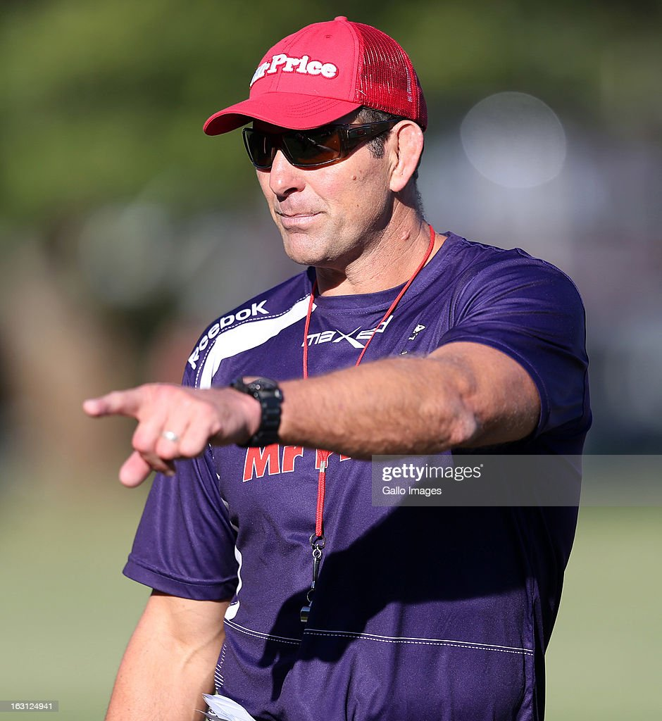 Head coach, John Plumtree reacts during a Sharks training session at Kings Park on March 05, 2013 in Durban, South Africa.