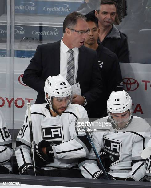 Head coach John Stevens of the Los Angeles Kings talks to his players during a preseason game against the Vegas Golden Knights at TMobile Arena on...