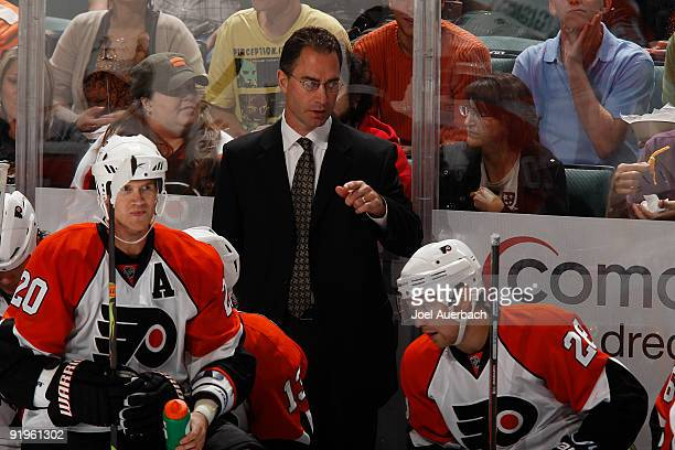 Head coach John Stevens of the Philadelphia Flyers during a time out late in the third period of the game against the Florida Panthers on October 16...