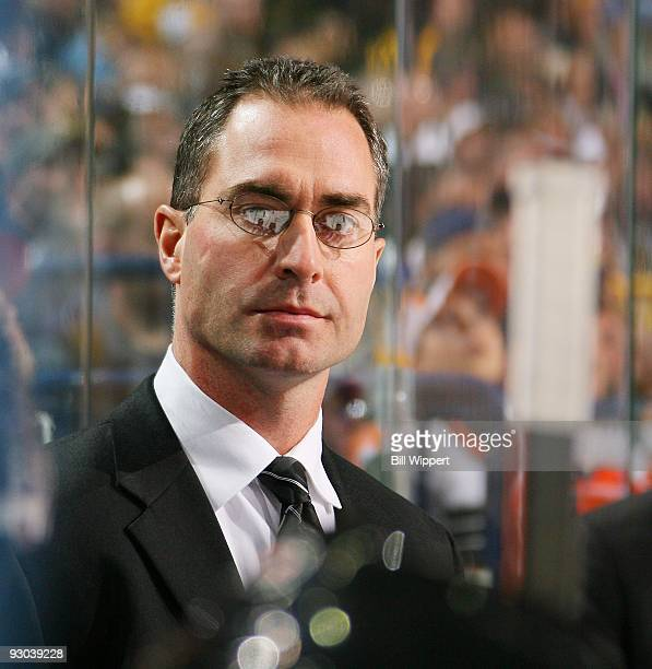Head coach John Stevens of the Philadelphia Flyers watches the action against the Buffalo Sabres on November 6 2009 at HSBC Arena in Buffalo New York