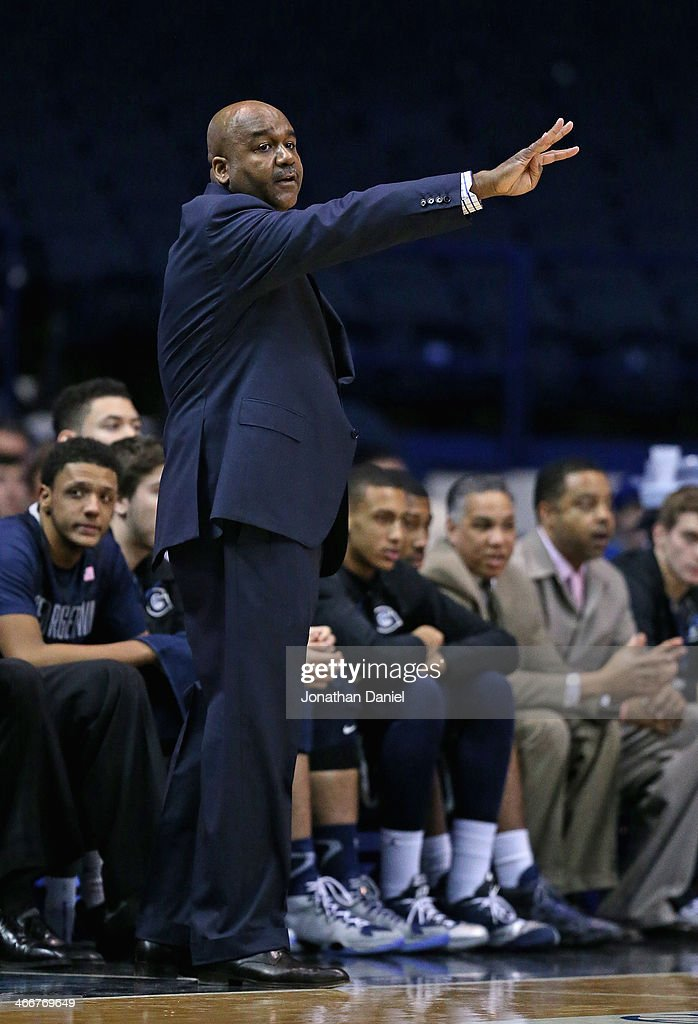 Head coach John Thompson III of the Georgetown Hoyas calls a play against the DePaul Blue Demons at the Allstate Arena on February 3 2014 in Rosemont...