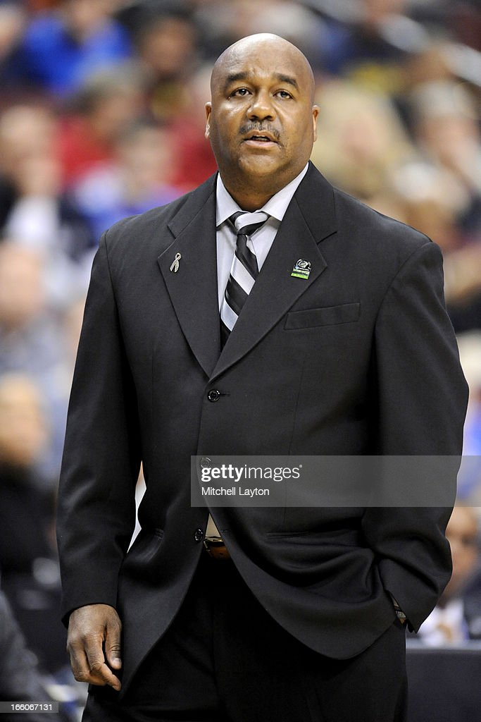 Head coach John Thompson III of the Georgetown Hoyas looks on during the second round of the 2013 NCAA Men's Basketball Tournament game against the Florida Gulf Coast Eagles on March 22, 2013 at Wells Fargo Center in Philadelphia, Pennsylvania. The Eagles won 78-68.
