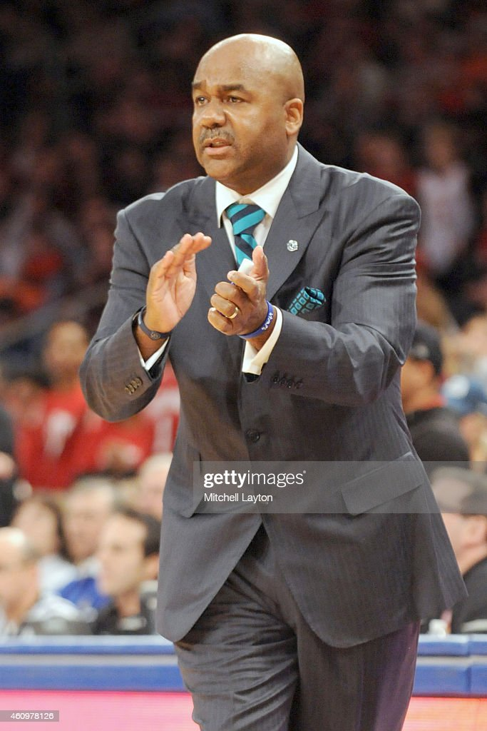 Head coach John Thompson III of the Georgetown Hoyas looks on during a college basketball game against the Indiana Hoosiers at Madison Square Garden...