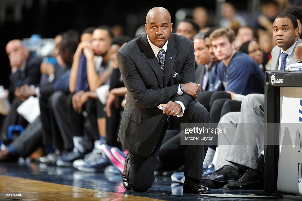 Head coach John Thompson III of the Georgetown Hoyas looks on during a college basketball game against the Georgetown Hoyas at the Verizon Center on...