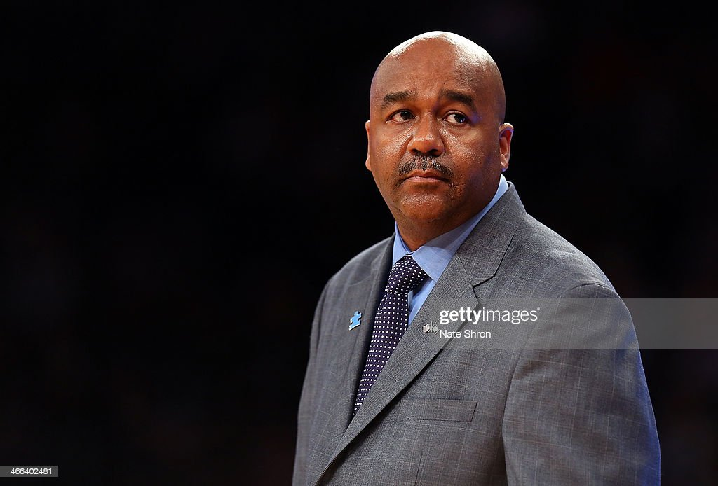 Head coach John Thompson III of the Georgetown Hoyas looks on during his team's win over the Michigan State Spartans during the game at Madison Square Garden on February 1, 2014 in New York City.