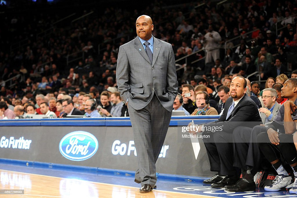 Head coach John Thompson III of the Georgetown Hoyas looks on during a college basketball game against the Michigan State Spartans on Febuary 1 2014...