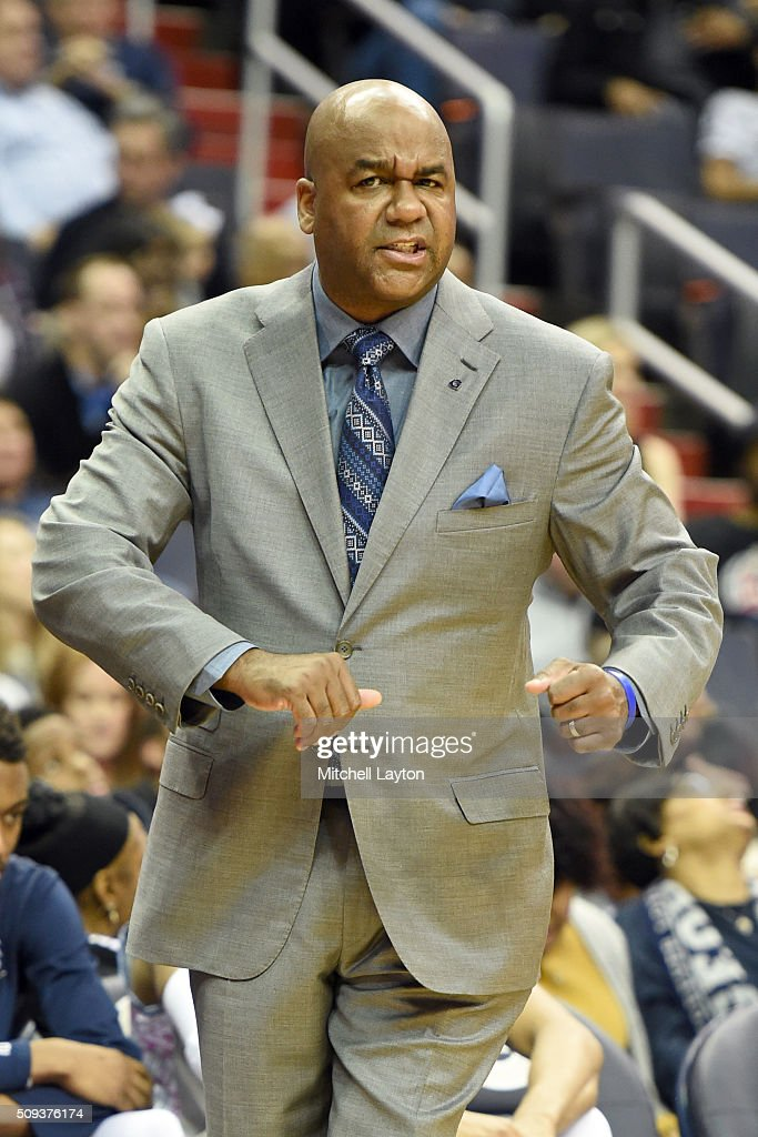 Head coach John Thompson III of the Georgetown Hoyas looks on during a college basketball game against the Providence Friars at the Verizon Center on...