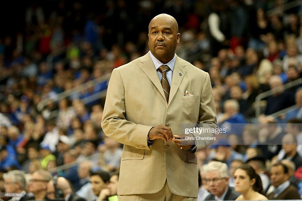 Head coach John Thompson III of the Georgetown Hoyas reacts against the Seton Hall Pirates during their Big East Conference game at Prudential Center...