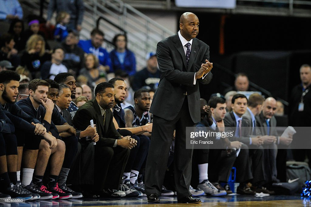 Head coach John Thompson III of the Georgetown Hoyas reacts during their game against the Creighton Bluejays at CenturyLink Center January 31 2015 in...