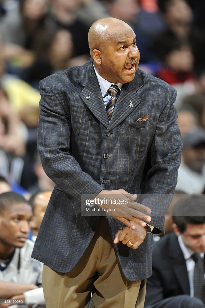 Head coach John Thompson III of the Georgetown Hoyas reacts to a play during a college basketball game against the Rutgers Scarlet Knights on March 2...