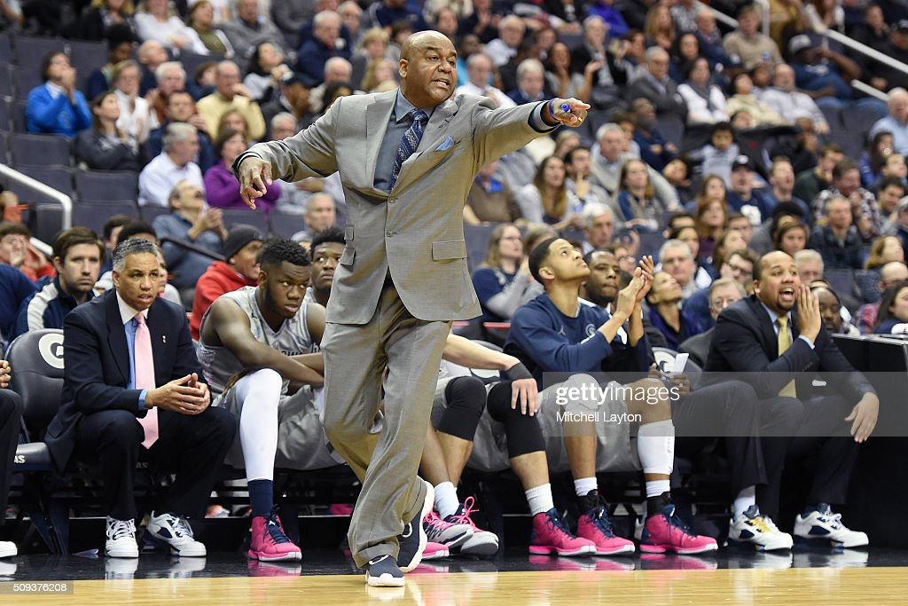 Head coach John Thompson III of the Georgetown Hoyas signals to his players during a college basketball game against the Providence Friars at the...