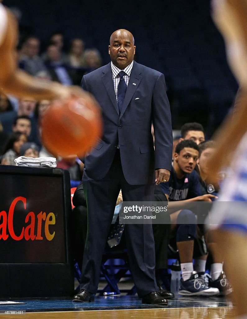 Head coach John Thompson III of the Georgetown Hoyas watches as his team takes on the DePaul Blue Demons at the Allstate Arena on February 3 2014 in...
