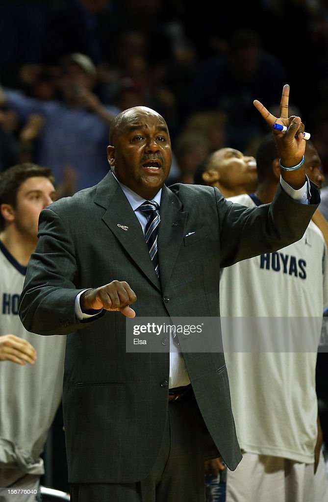 Head coach John Thompston III of the Georgetown Hoyas directs his players in the first half against the Indiana Hoosiers during the Championship Game of the Legends Classic on November 20,2012 at the Barclays Center in the Brooklyn borough of New York City.