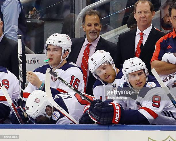 Head coach John Tortorella of Team USA handles bench duties against Team Czech Republic at the World Cup of Hockey tournament at the Air Canada...