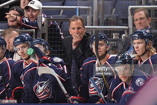 Head Coach John Tortorella of the Columbus Blue Jackets coaches his 1000th NHL hockey game against the New Jersey Devils on March 19 2016 at...