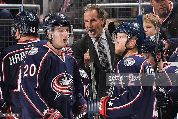 Head Coach John Tortorella of the Columbus Blue Jackets instructs his team during a game against the Tampa Bay Lightning on December 14 2015 at...