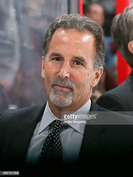 Head coach John Tortorella of the Columbus Blue Jackets looks on from the bench prior to a game against the Ottawa Senators at Canadian Tire Centre...