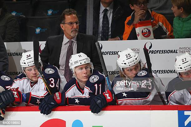 Head coach John Tortorella of the Columbus Blue Jackets looks on from the bench during the game against the New York Islanders at the Barclays Center...
