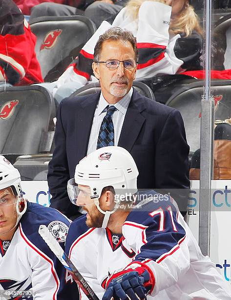 Head coach John Tortorella of the Columbus Blue Jackets looks on during the game against the New Jersey Devils at the Prudential Center on October 27...