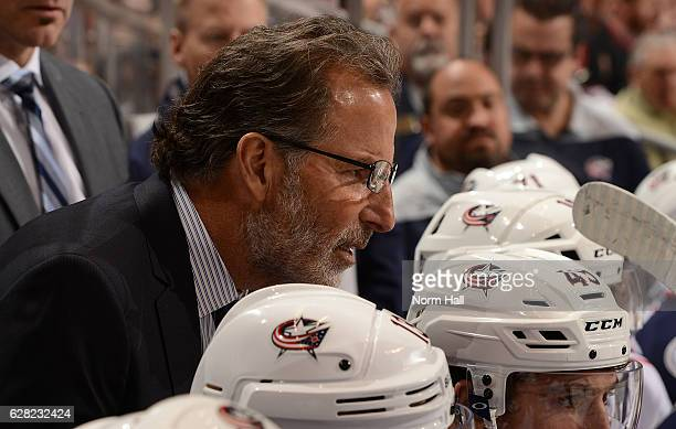 Head coach John Tortorella of the Columbus Blue Jackets talks to an official during a stop in play against the Arizona Coyotes at Gila River Arena on...