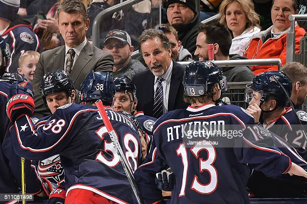Head Coach John Tortorella of the Columbus Blue Jackets talks to his team during a timeout during a game against the Boston Bruins on February 16...