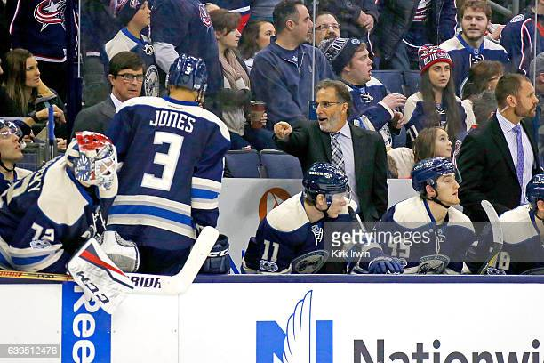 Head Coach John Tortorella of the Columbus Blue Jackets talks to Seth Jones of the Columbus Blue Jackets during the game against the Ottawa Senators...