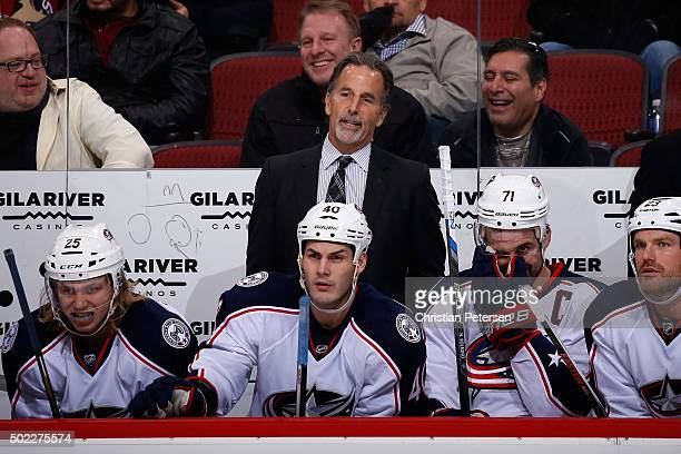 Head coach John Tortorella of the Columbus Blue Jackets watches from the bench during the NHL game against the Arizona Coyotes at Gila River Arena on...