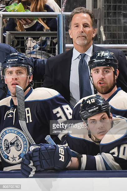 Head Coach John Tortorella of the Columbus Blue Jackets watches his team play against the Colorado Avalanche on January 16 2016 at Nationwide Arena...