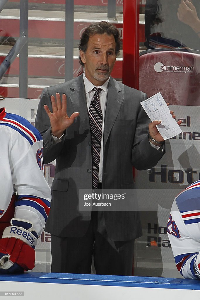 Head coach <a gi-track='captionPersonalityLinkClicked' href=/galleries/search?phrase=John+Tortorella&family=editorial&specificpeople=213393 ng-click='$event.stopPropagation()'>John Tortorella</a> of the New York Rangers directs the players during third period action against the Florida Panthers at the BB&T Center on April 23, 2013 in Sunrise, Florida. The Panthers defeated the Rangers 3-2.