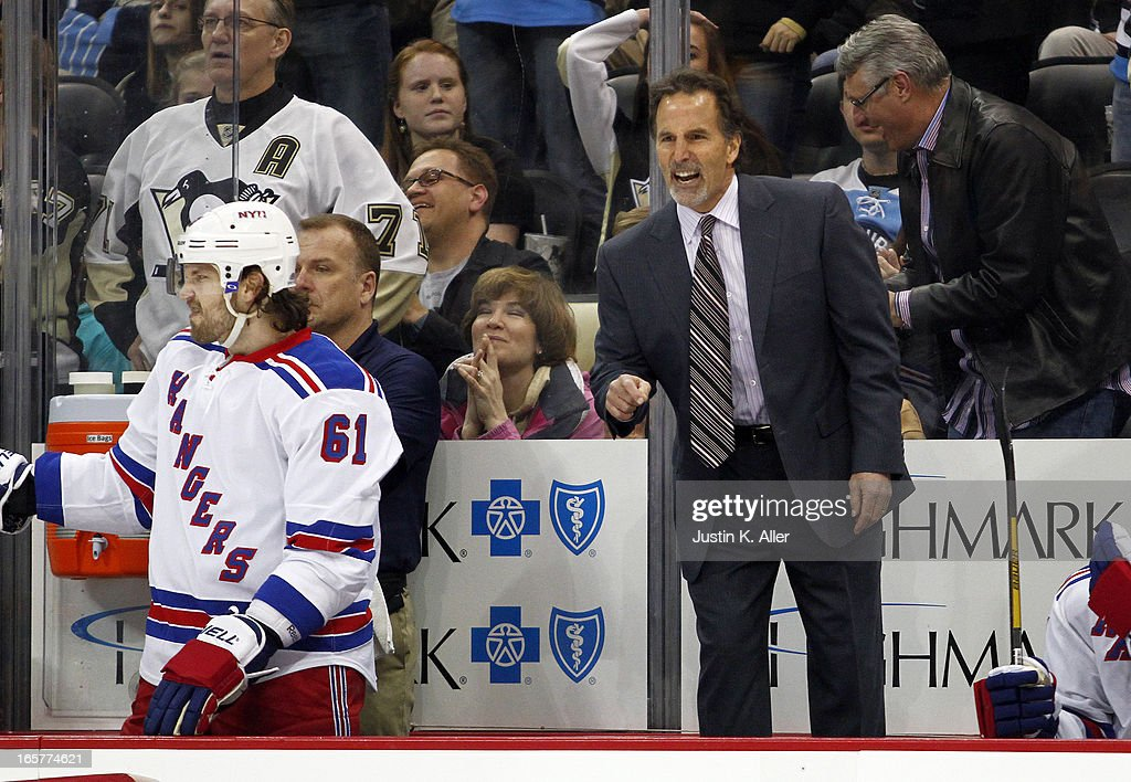 Head coach <a gi-track='captionPersonalityLinkClicked' href=/galleries/search?phrase=John+Tortorella&family=editorial&specificpeople=213393 ng-click='$event.stopPropagation()'>John Tortorella</a> of the New York Rangers yells at the referee during the game against the Pittsburgh Penguins at Consol Energy Center on April 5, 2013 in Pittsburgh, Pennsylvania. The Penguins defeated the Rangers 2-1 in a shootout.