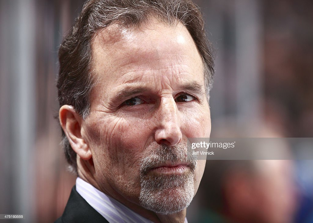 Head coach <a gi-track='captionPersonalityLinkClicked' href=/galleries/search?phrase=John+Tortorella&family=editorial&specificpeople=213393 ng-click='$event.stopPropagation()'>John Tortorella</a> of the Vancouver Canucks looks on from the bench during their NHL game against the St. Louis Blues at Rogers Arena February 26, 2014 in Vancouver, British Columbia, Canada. Vancouver won 1-0.