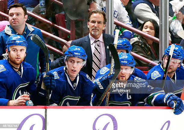 Head coach John Tortorella of the Vancouver Canucks looks on from the bench during their NHL game against the Calgary Flames at Rogers Arena April 13...