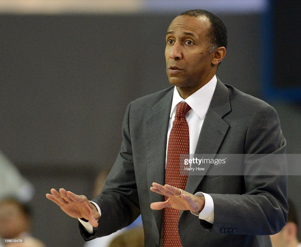 Head coach Johnny Dawkins of the Stanford Cardinal reacts from the bench during a 68-60 loss to the UCLA Bruins at Pauley Pavilion on January 5, 2013 in Los Angeles, California.
