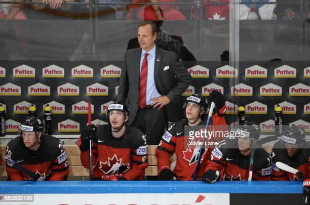 Head coach Jon Cooper of Canada during the 2017 IIHF Ice Hockey World Championship game between Canada and Finland at AccorHotels Arena on May 16...