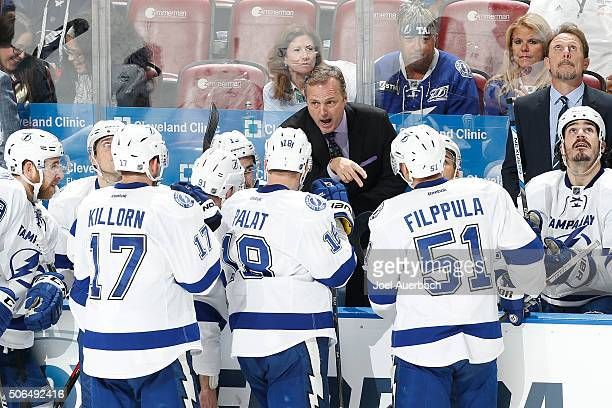 Head coach Jon Cooper of the Tampa Bay Lightning directs the players during a time out against the Florida Panthers during the third period at the...