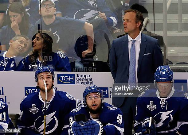 Head Coach Jon Cooper of the Tampa Bay Lightning looks on against the Chicago Blackhawks during Game Five of the 2015 NHL Stanley Cup Final at Amalie...