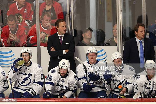 Head coach Jon Cooper of the Tampa Bay Lightning looks on from the bench against the Chicago Blackhawks during Game Four of the 2015 NHL Stanley Cup...