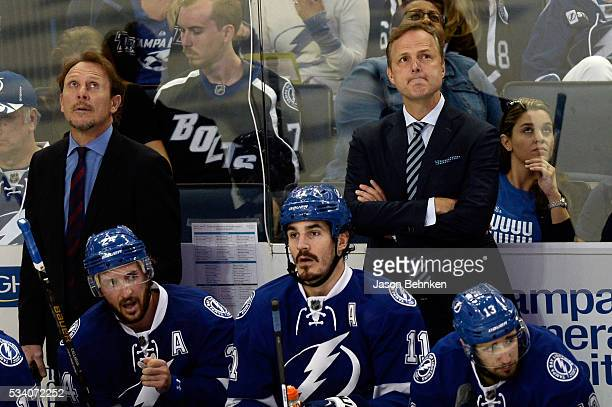 Head coach Jon Cooper of the Tampa Bay Lightning reacts against the Pittsburgh Penguins in Game Six of the Eastern Conference Final during the 2016...