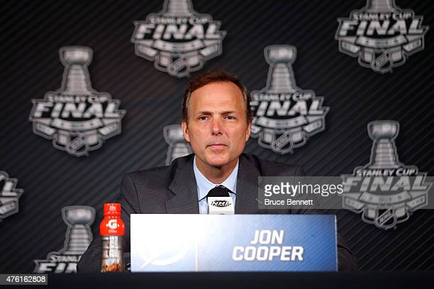 Head coach Jon Cooper of the Tampa Bay Lightning speaks to the media after Game Two of the 2015 NHL Stanley Cup Final against the Chicago Blackhawks...