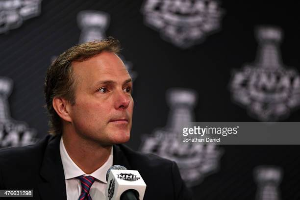 Head coach Jon Cooper of the Tampa Bay Lightning speaks to the media after losing to the Chicago Blackhawks 21 in Game Four of the 2015 NHL Stanley...