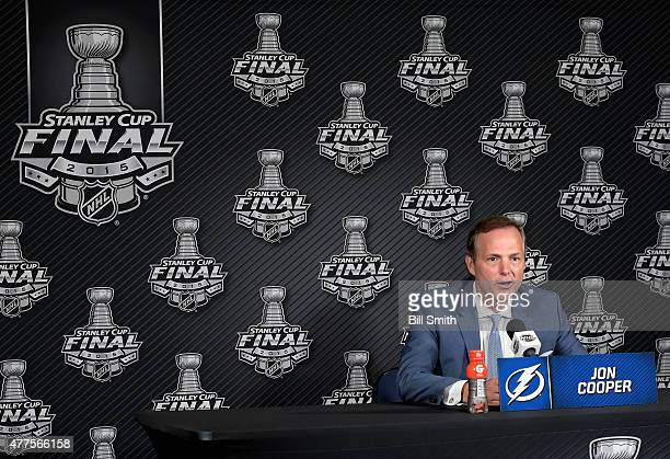 Head coach Jon Cooper of the Tampa Bay Lightning speaks to the media after his team was defeated by the Chicago Blackhawks 21 in Game Five of the...