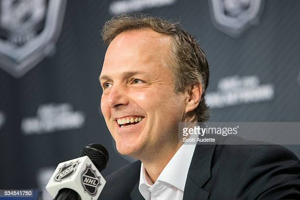 Head Coach Jon Cooper of the Tampa Bay Lightning speaks to the media before the game against the Pittsburgh Penguins and Game Seven of the Eastern...