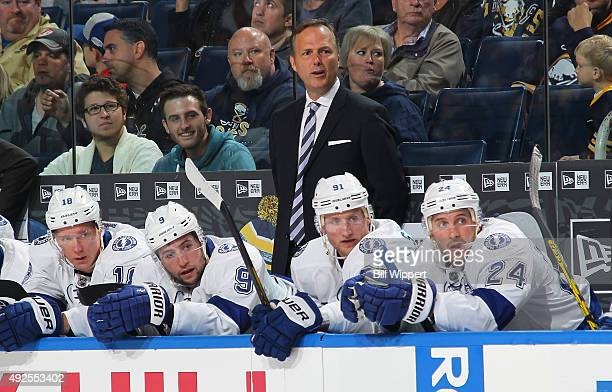 Head coach Jon Cooper of the Tampa Bay Lightning watches the action against the Buffalo Sabres on October 10 2015 at the First Niagara Center in...
