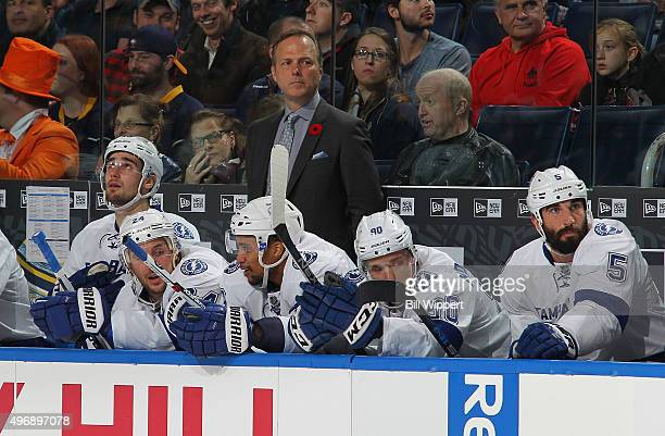 Head coach Jon Cooper of the Tampa Bay Lightning watches the action against the Buffalo Sabres during an NHL game on November 5 2015 at the First...
