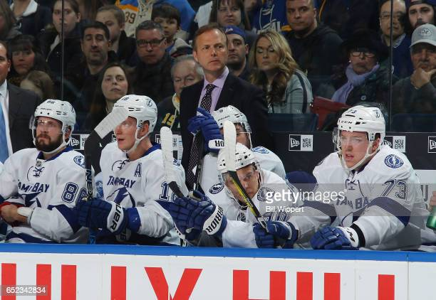 Head coach Jon Cooper of the Tampa Bay Lightning watches the action against the Buffalo Sabres during an NHL game at the KeyBank Center on March 4...