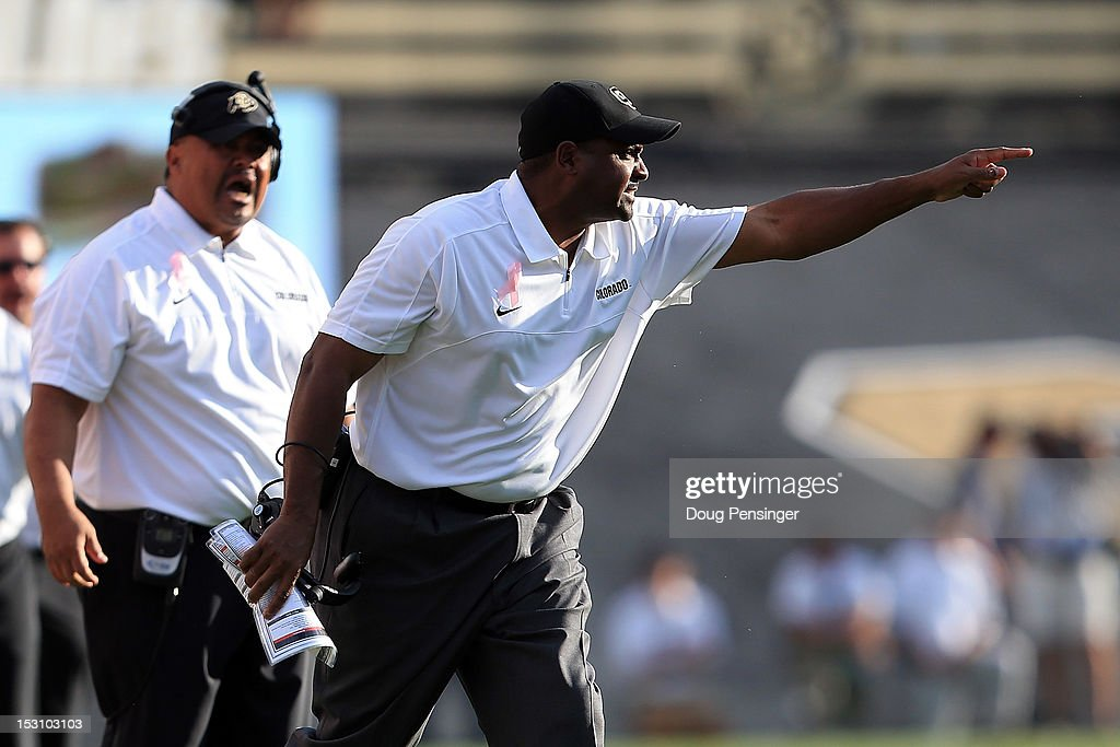 Head coach <a gi-track='captionPersonalityLinkClicked' href=/galleries/search?phrase=Jon+Embree&family=editorial&specificpeople=3401085 ng-click='$event.stopPropagation()'>Jon Embree</a> leads the Colorado Buffaloes against the UCLA Bruins at Folsom Field on September 29, 2012 in Boulder, Colorado. UCLA defeated Colorado 42-14.